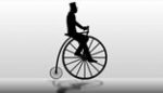 Penny Farthing Cyclist Silhouette